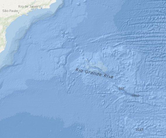 Mapa mostra a localização da Elevação do Rio Grande
