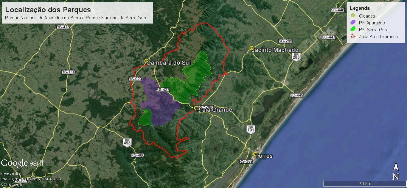 Mapa dos Parnas Aparados da Serra e da Serra Geral