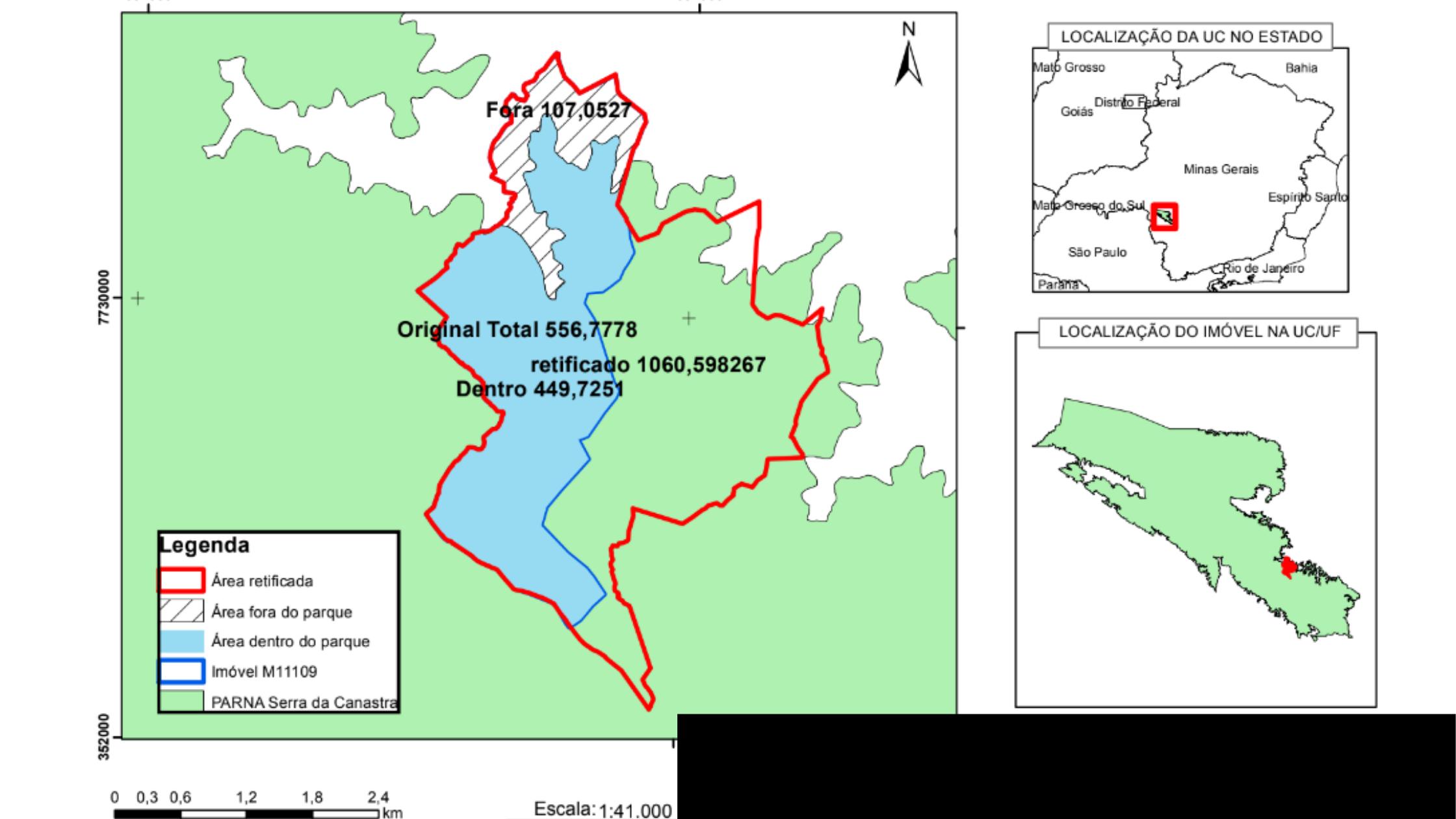 Mapa mostra área de fazenda desapropriada na Serra da Canastra, dentro de UC