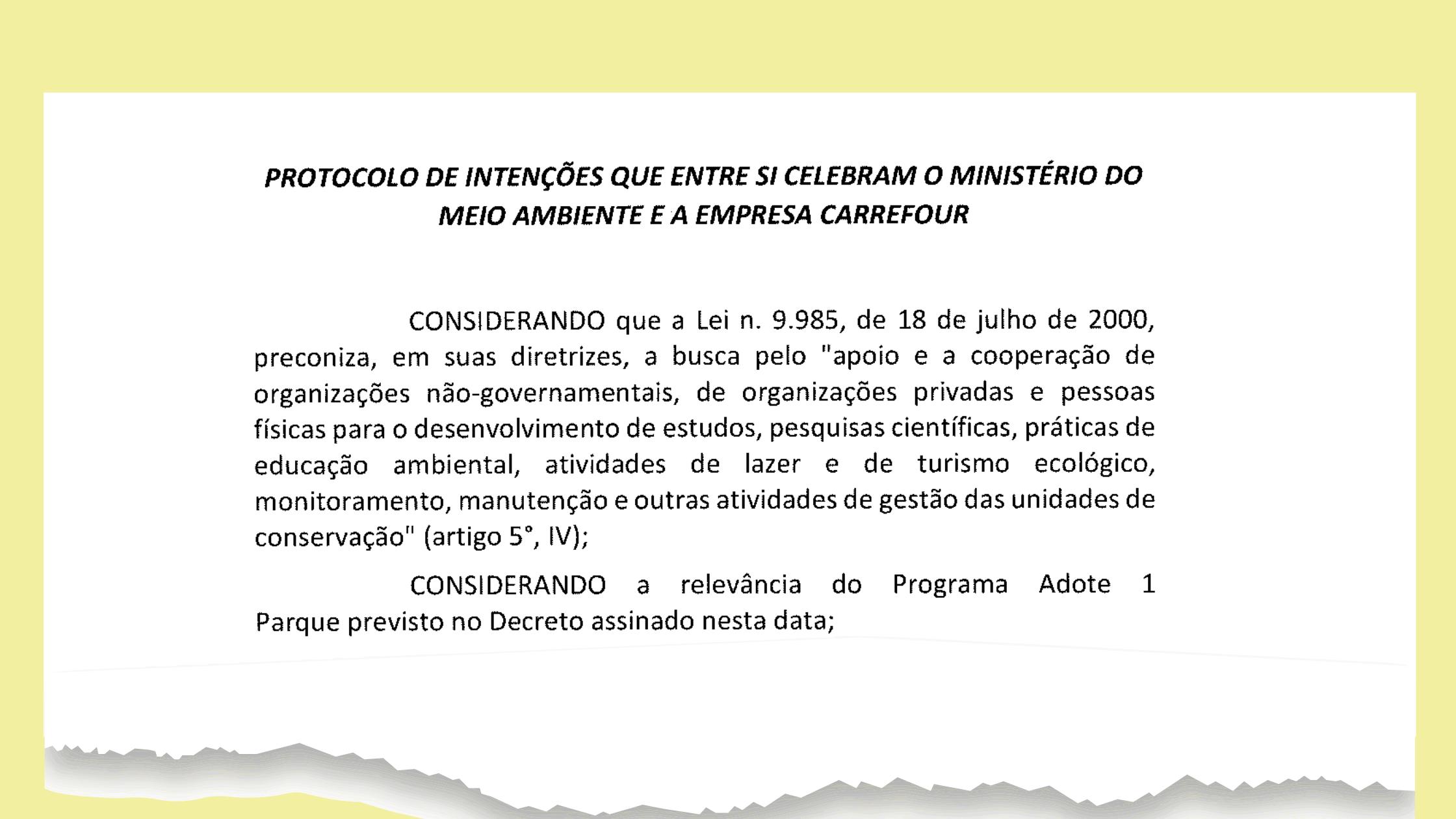 Protocolo de intenções - Adote um Parque - Carrefour (trecho)