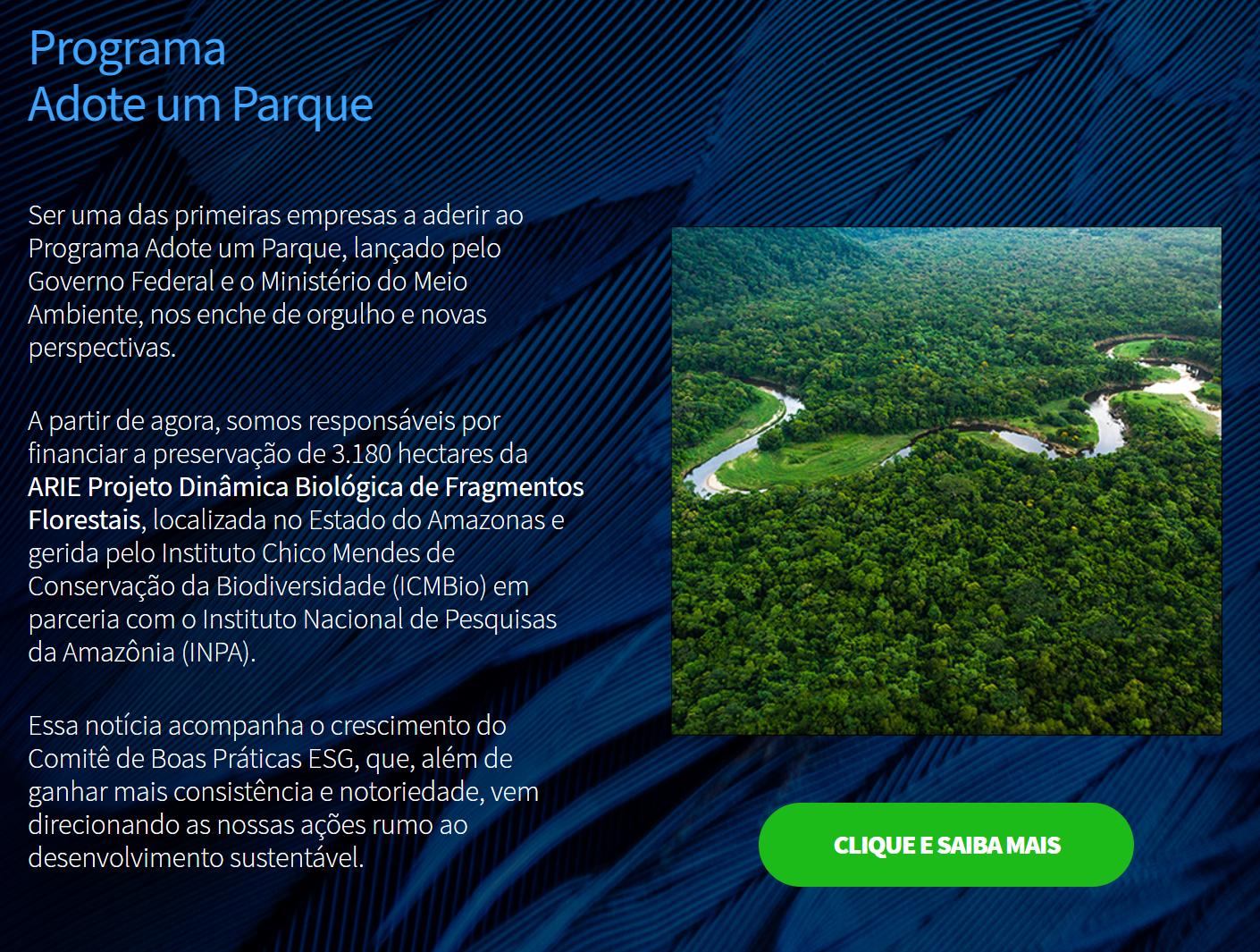 Print de texto no site da Genial informando que a empresa é agora responsável pela ARIE Projeto Dinâmica Biológica de Fragmentos Florestais