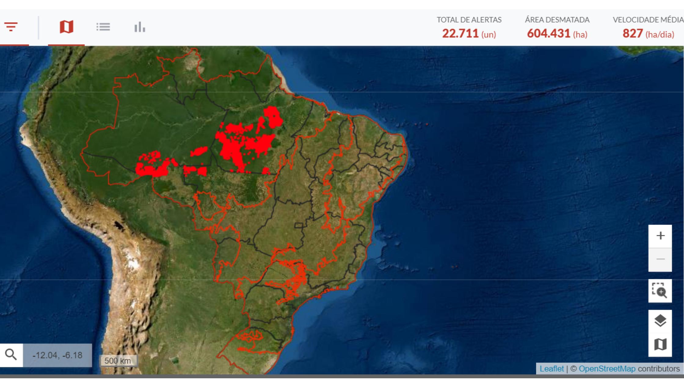 Alertas de desmatamento nos 11 municípios prioritários desde janeiro de 2019