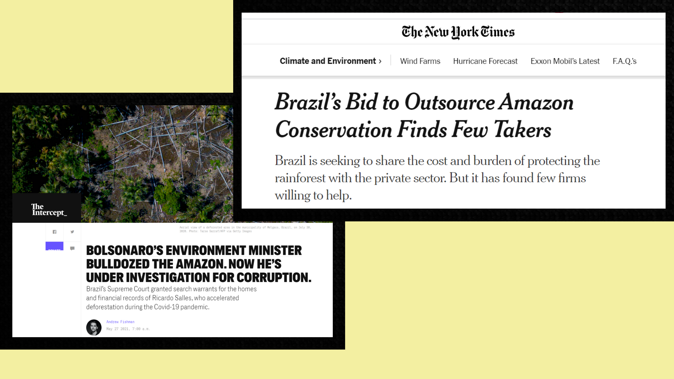 Print das reportagens do NYT e do Intercept