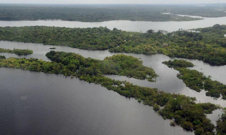 Vista aérea de local na Amazônia. Área com floresta permeada por rio