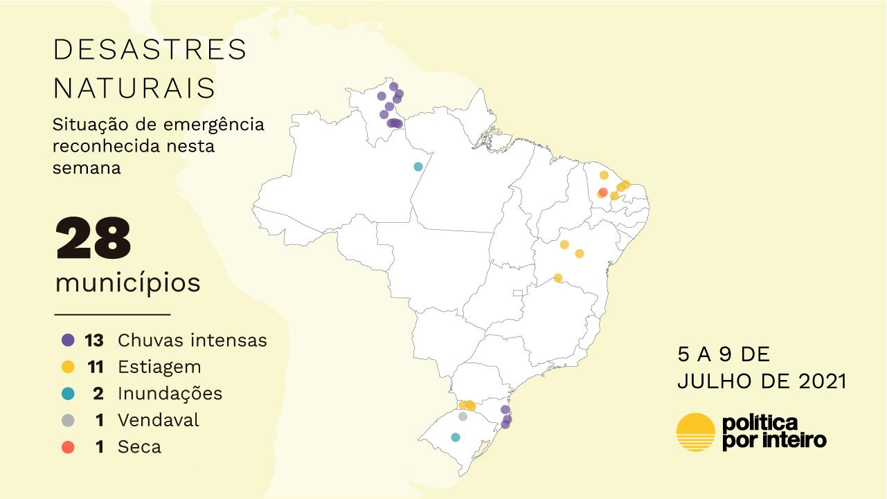 Mapa de decretação de situação de emergência de 5 a 9 de julho